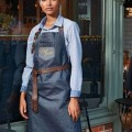 PR136 'DIVISION' WAXED LOOK DENIM BIB APRON WITH FAUX LEATHER