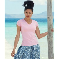 ID182 ДАМСКИ ТЕНИСКИ LADY-FIT VALUEWEIGHT V-NECK T